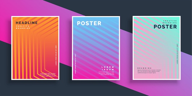 Vibrant flyer line patterns set