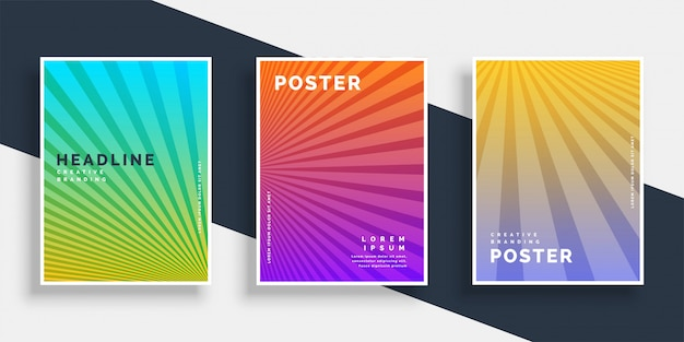 Vibrant flyers brochure set with rays stripes