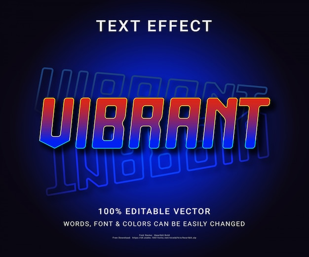 Vibrant full editable text effect