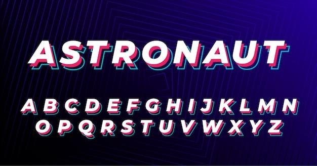 Vibrant futuristic retro font alphabet set