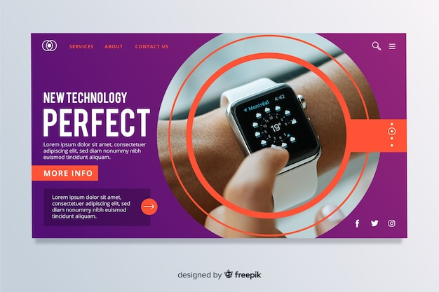 Vibrant geometric technology landing page with photo