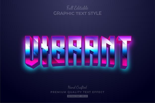 Vibrant gradient 80's retro editable text style effect premium