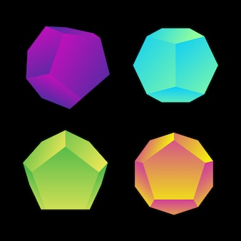 Vibrant gradient color various angles dodecahedrons decoration shapes collection  black background