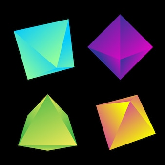 Vibrant gradient color various angles octahedrons decoration shapes collection  black background