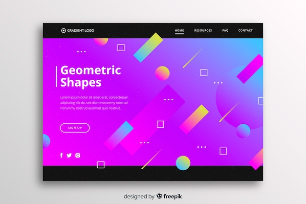 Vibrant gradient landing page with geometric shapes