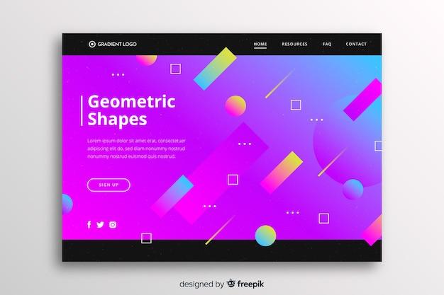 幾何学的図形を含む鮮やかなグラデーションランディングページ
