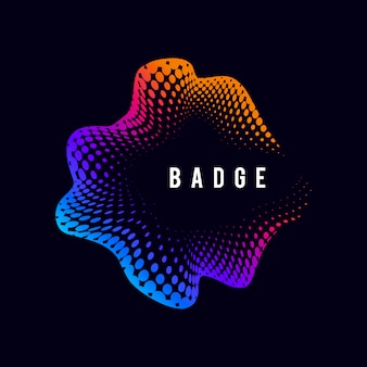 Vibrant halftone badge on black vector background