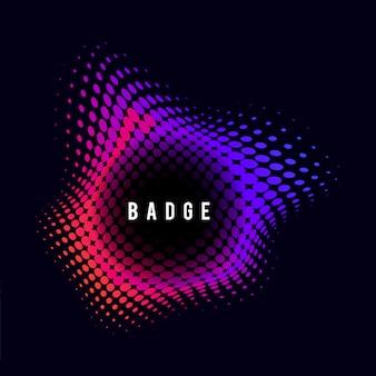 Vibrant halftone badge on black background
