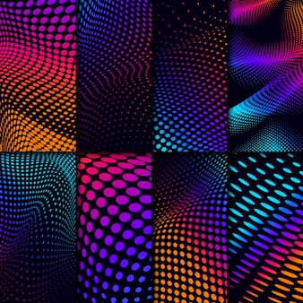 Vibrant halftone on black background set