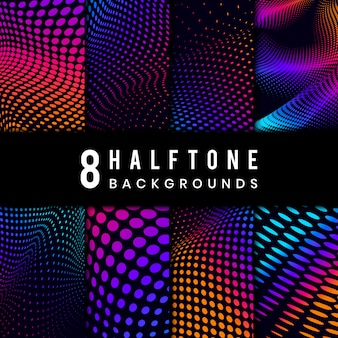 Vibrant halftone on black background vector set