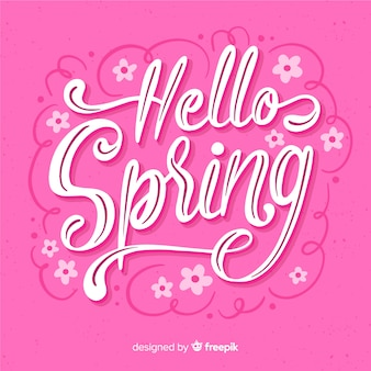 Vibrant hello spring lettering background