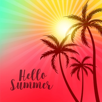 Vibrant hello summer poster with palm trees and sun