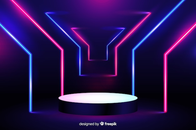 Vibrant neon lights stage background