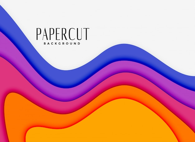 Vibrant papercut layers in different colors Free Vector
