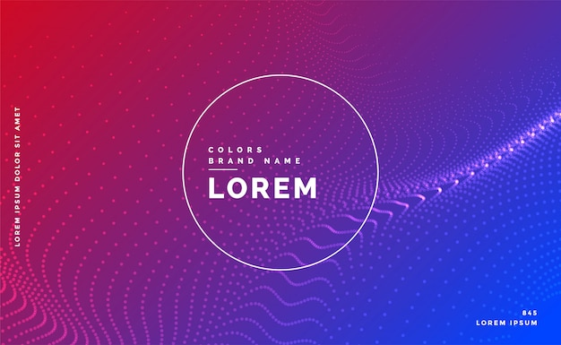 Vibrant particles background with text space