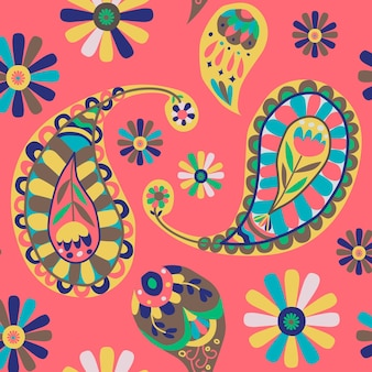 Vibrant pink indian  paisley pattern seamless background