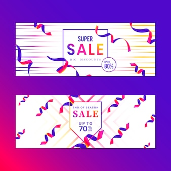 Vibrant pink sale sign vector set