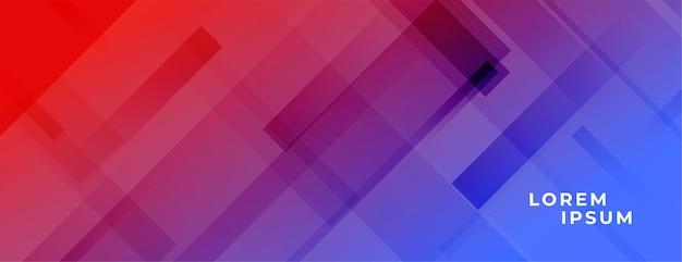 斜めの線で鮮やかな赤と青のバナー