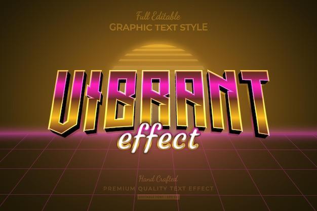 Vibrant retro 80s editable premium text effect font style