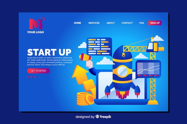 Vibrant start up landing page with different objects