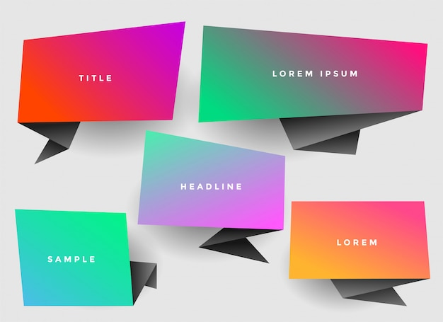 Vibrant stylish origami chat bubble with copyspace