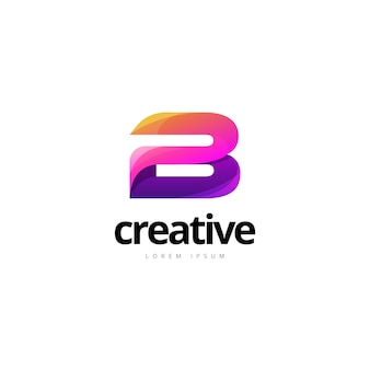 Vibrant trendy colorful creative letter b logo