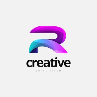 Vibrant trendy colorful creative letter r logo