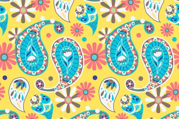 鮮やかな黄色のインドのペイズリー柄の背景