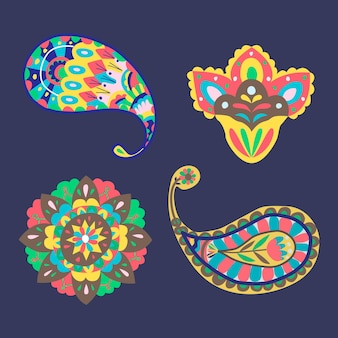Vibrant yellow indian  paisley stickers