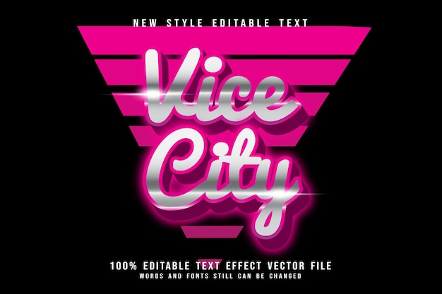 Vice city editable text effect emboss retro style