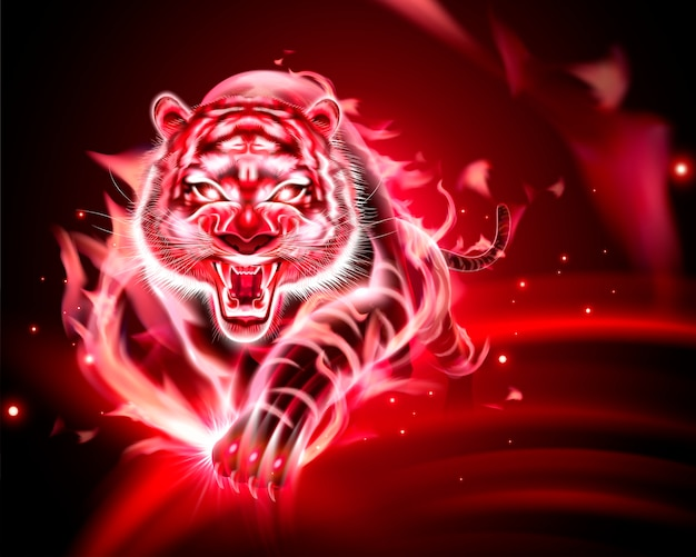 Vicious tiger with red burning flame