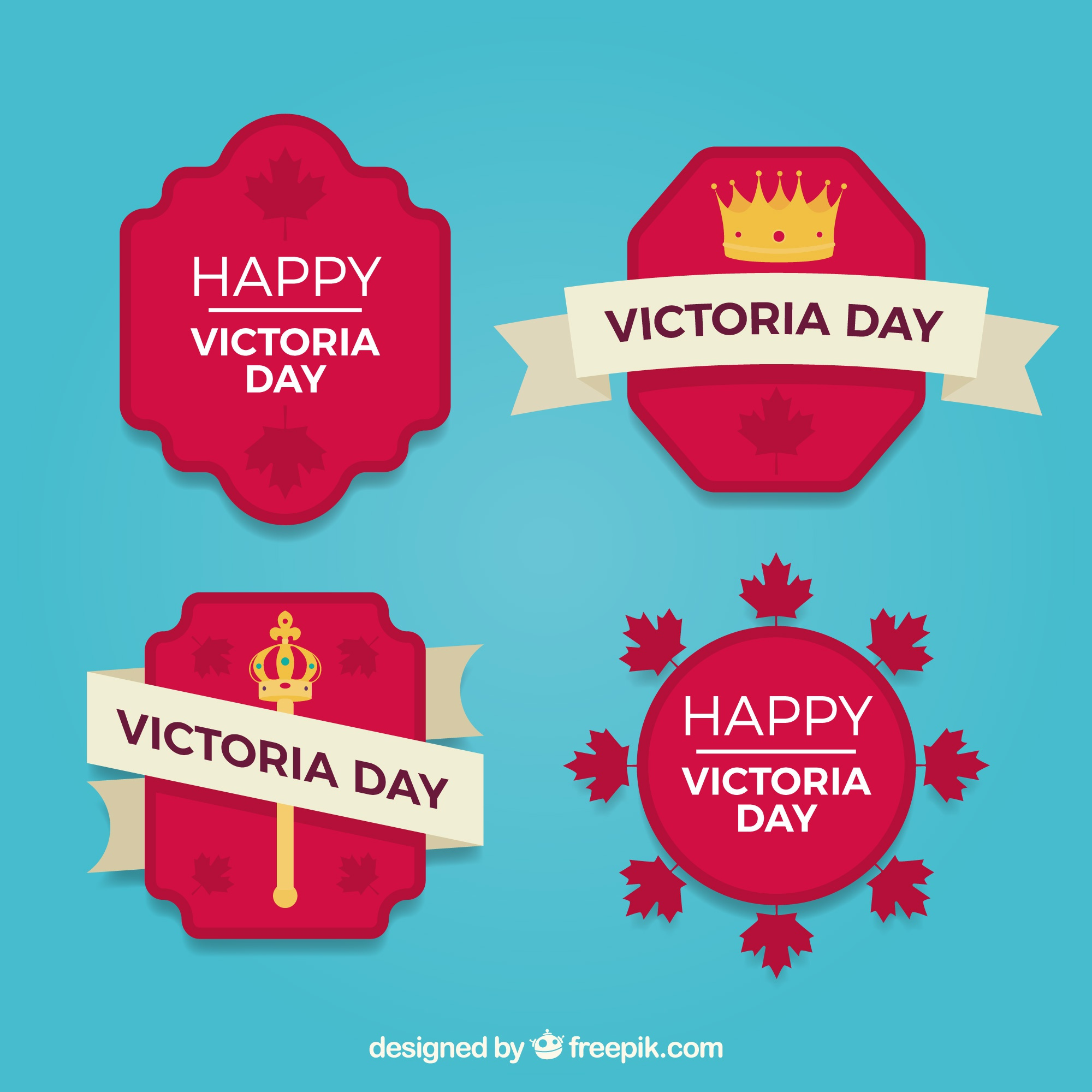 Victoria day lable collection with crown and scepter