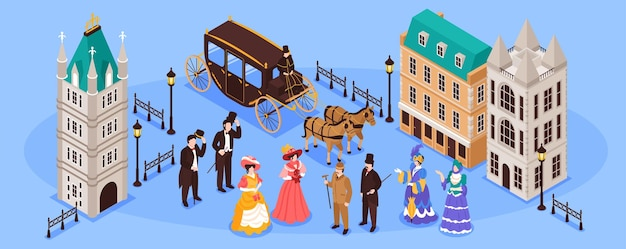 Victorian era horizontal illustration with residents of old town and carriage pulled by two horses isometric