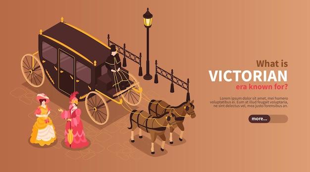 Victorian era web banner template with women dressed in 19th century clothes and carriage pulled by two horses isometric