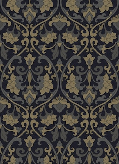 Victorian floral pattern. dark template for textile, wallpaper.