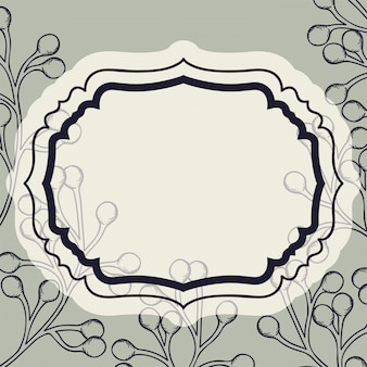 Victorian frame with branch and seeds drawn