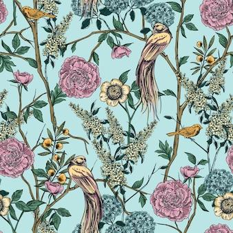 Victorian garden. floral seamless pattern