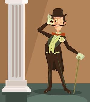 ビクトリア朝の紳士。帽子をかぶったヴィンテージの英国紳士。ベクトルフラット漫画イラスト