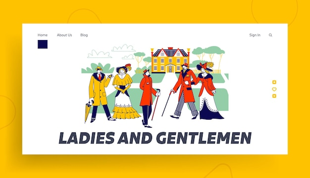 Victorian male female characters in beautiful dresses landing page template.