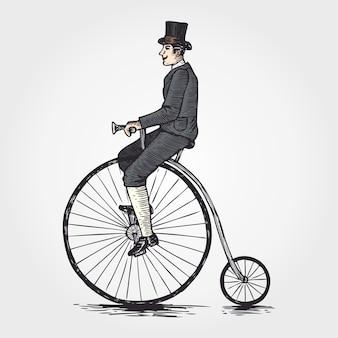 ペニーファージング自転車に乗るビクトリア朝の男