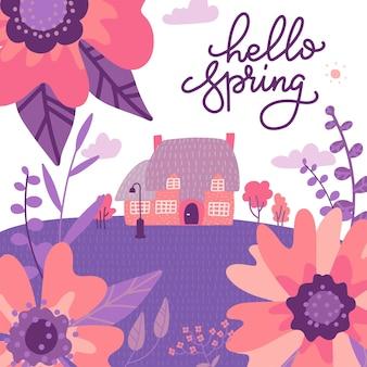 鮮やかな紫とピンクの色の巨大な花に囲まれたビクトリア朝の古いカントリーハウス。