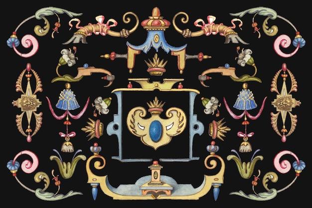 손으로 그린 빅토리아 시대 장식 개체, joris hoefnagel 및 georg bocskay의 model book of calligraphy에서 리믹스