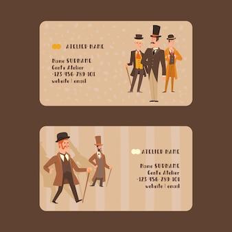 レトロなパーティーのイラストをヴィンテージのファッションの帽子文字のビクトリア朝の人々紳士