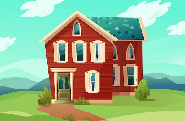 빅토리아 복고 스타일의 건물입니다. 자연 풍경에 빨간 아파트의 만화 그림. .