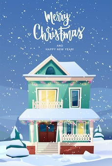 Викторианские здания в стиле ретро с елкой во дворе, свет из окон, фонари на рождество.