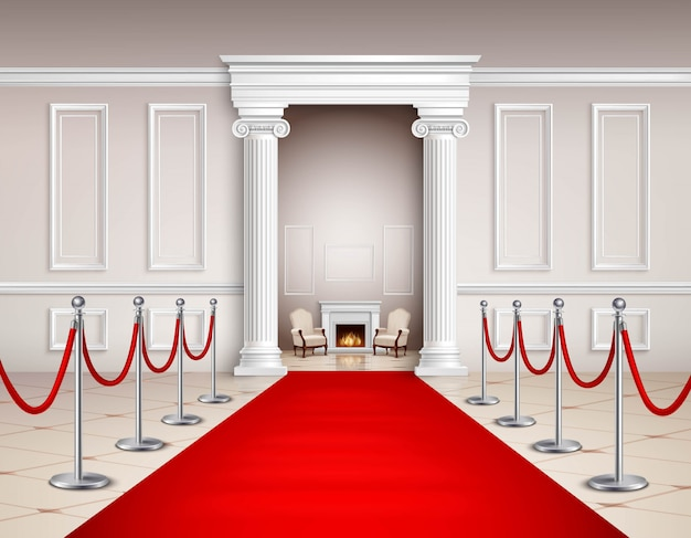 Victorian style hall with red carpet silvery barriers armchairs and fireplace
