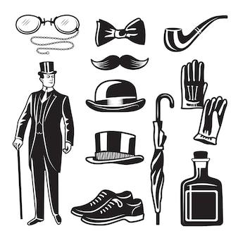 紳士クラブのためのビクトリア朝様式のモノクロイラスト。写真セット。スーツ、アクセサリー傘、手袋の英国紳士服