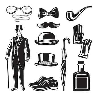 Victorian style monochrome illustrations for gentleman club.  pictures set. english gentleman clothing in suit, accessories umbrella and gloves