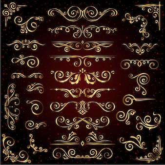 Victorian vector set of golden ornate page decor elements like frames, dividers