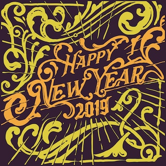Victorian vintage happy new year greetings illustration